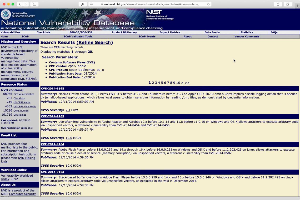 Busca de falhas sobre o OS X na National Vulnerability Database