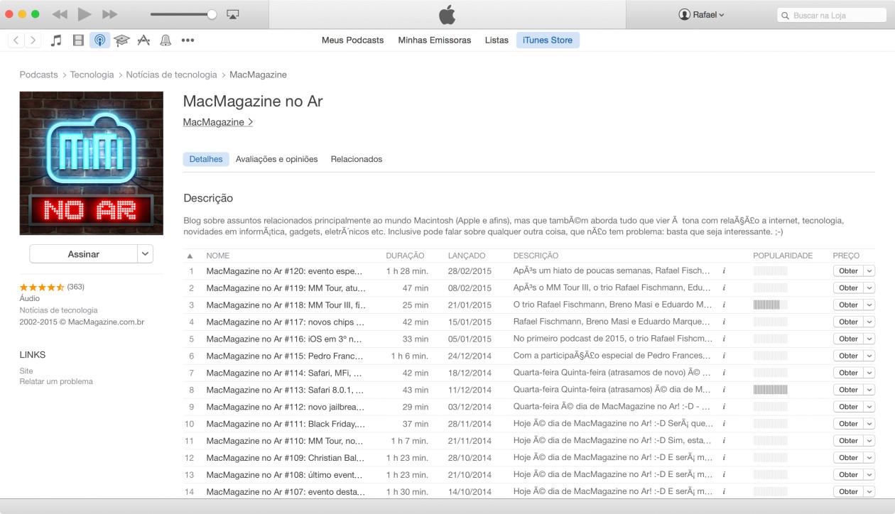 Podcast MacMagazine no Ar, no iTunes