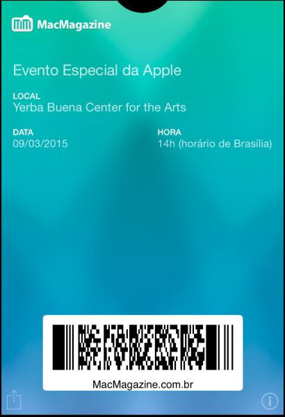 Tíquete de Passbook do evento do Apple Watch