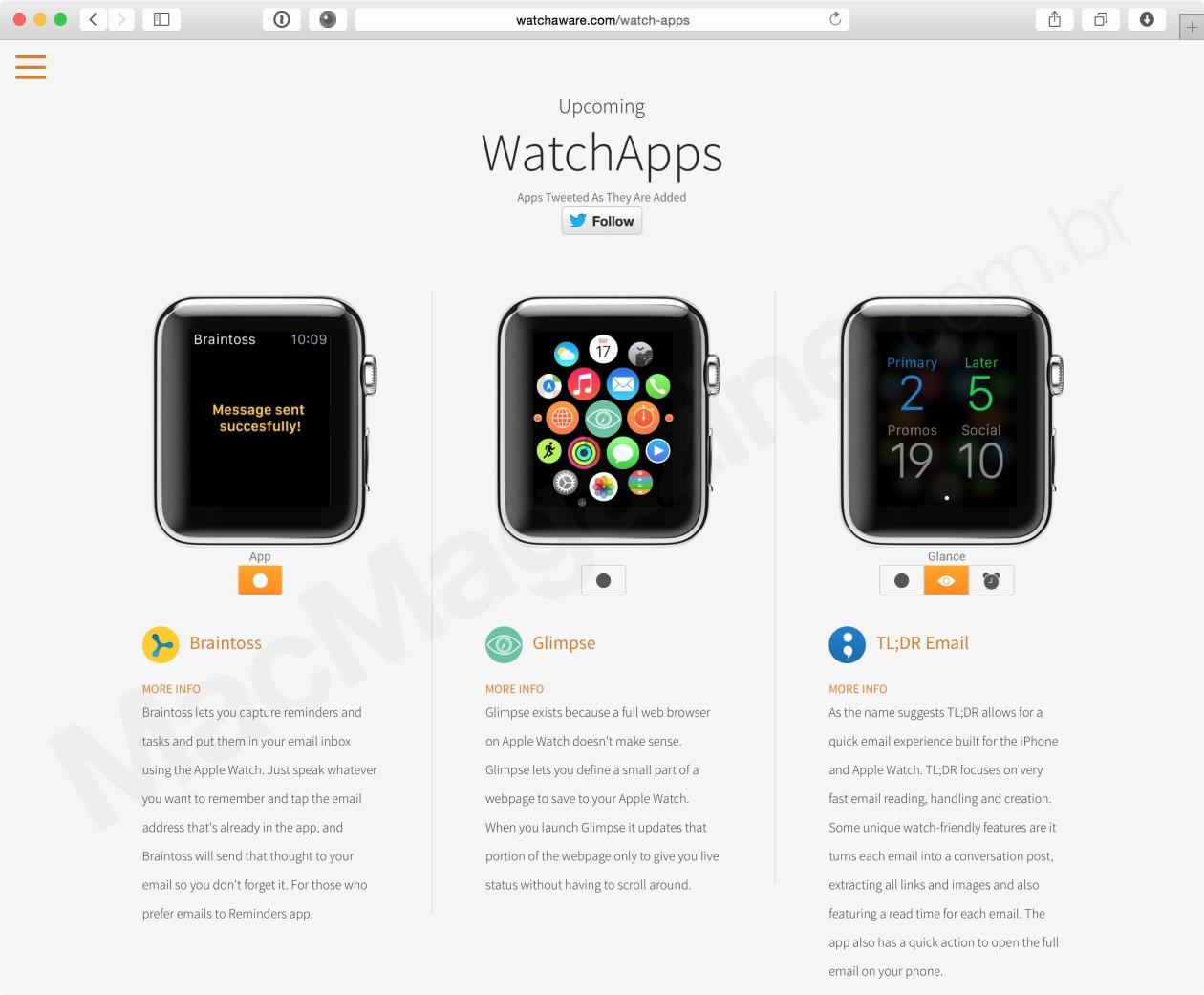 Site cria uma galeria de apps para o Watch