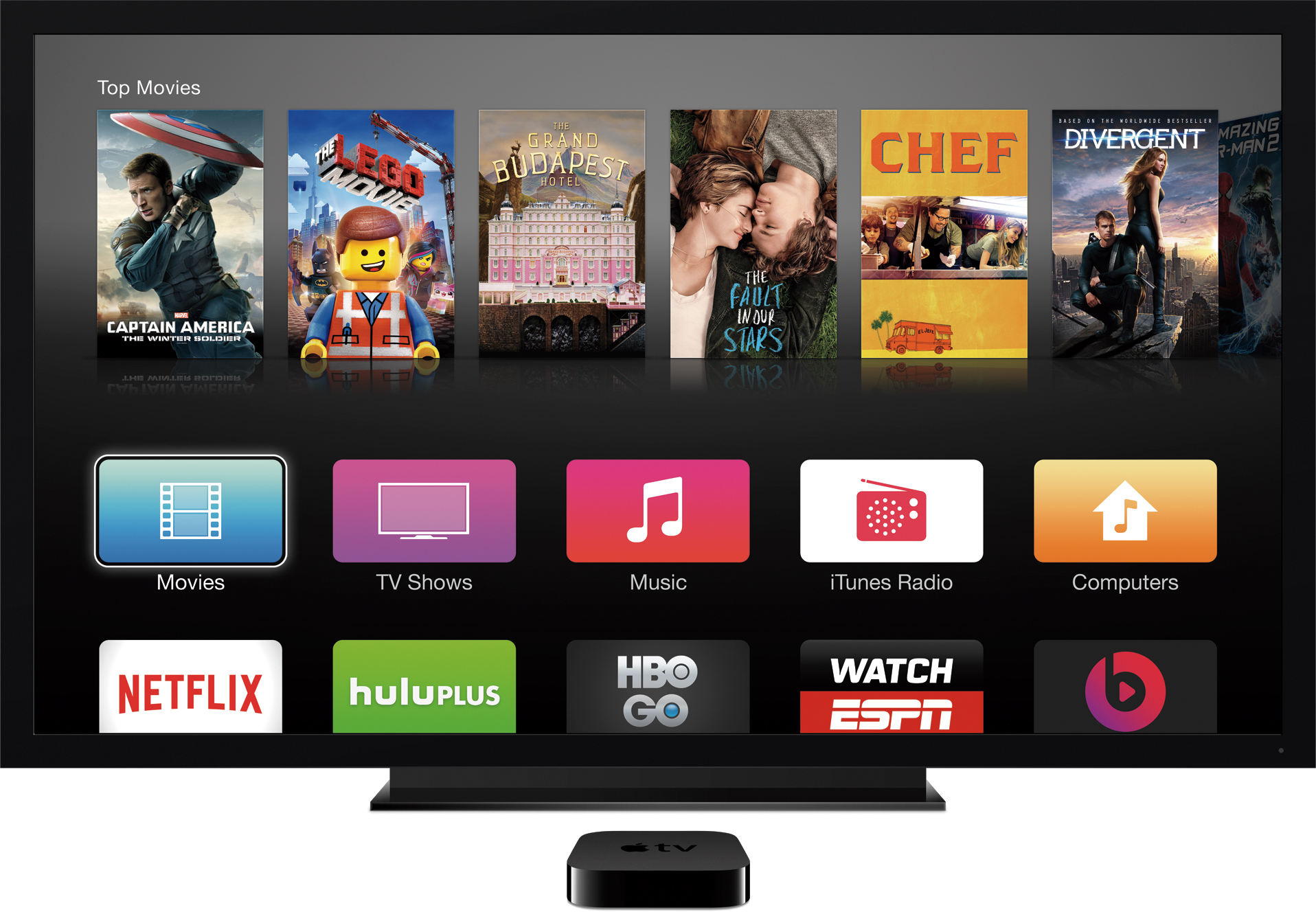 Apple TV com televisão