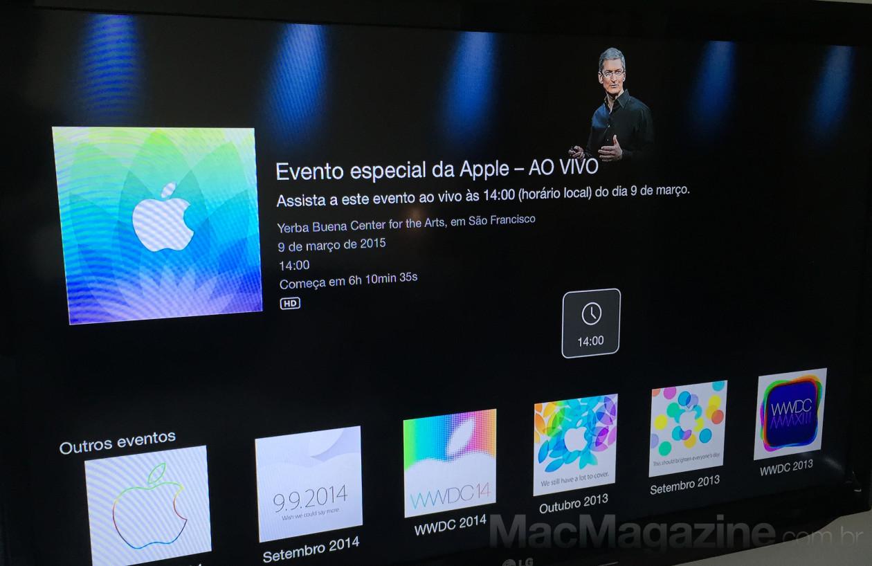 Canal do evento especial do Apple Watch na TV
