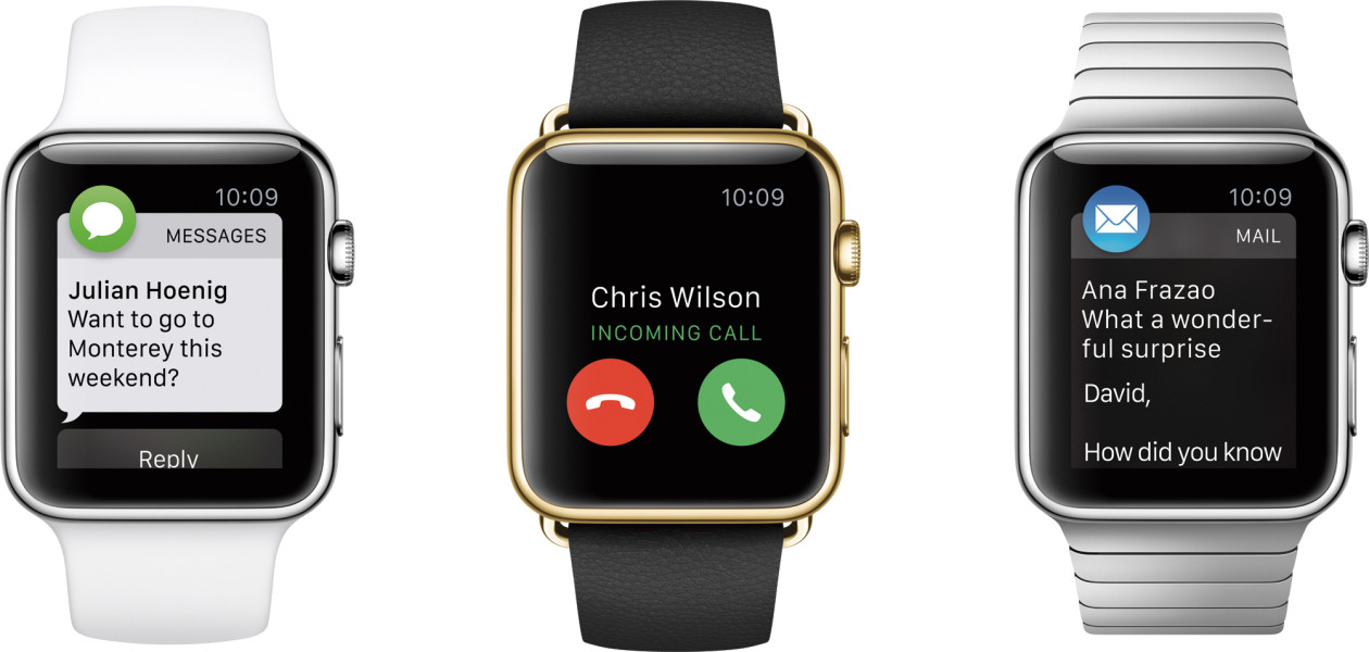 Família de Apple Watch com apps