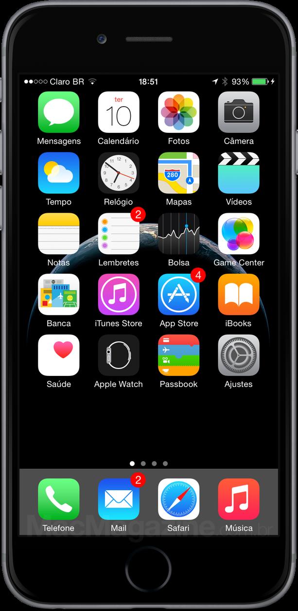 Apps nativos do iOS no iPhone