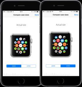 Tamanhos do Apple Watch