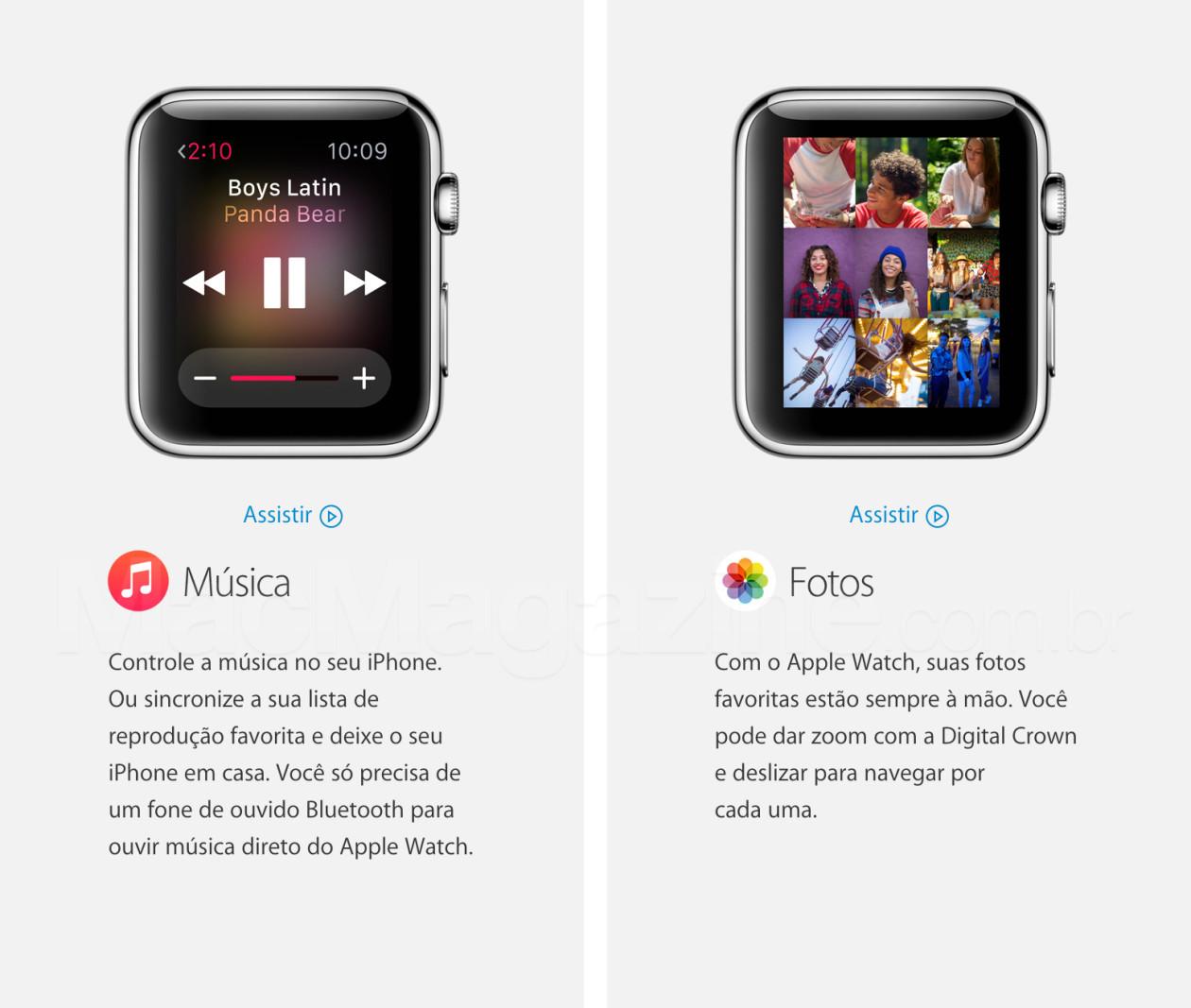 Música e Fotos no Apple Watch