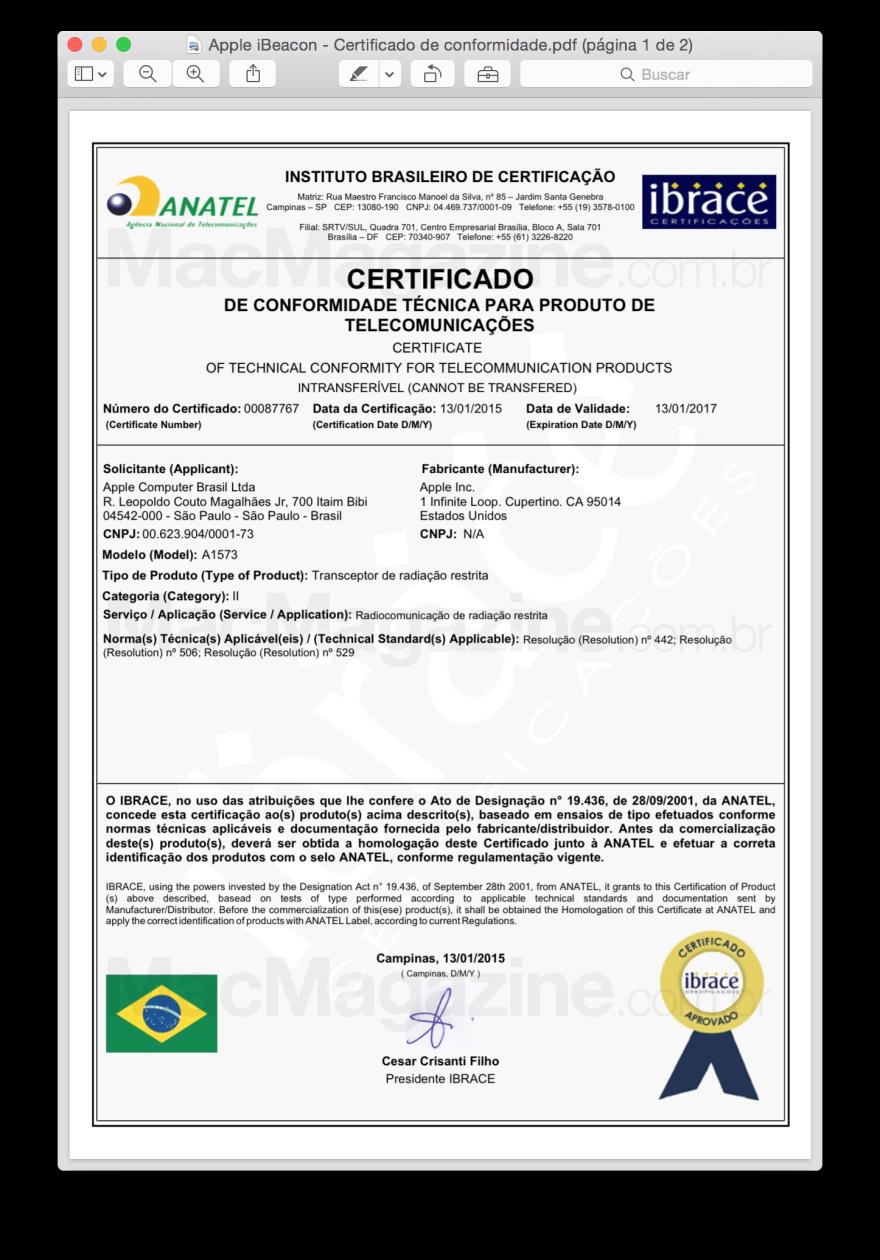 Apple iBeacon - Certificado de conformidade