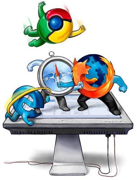 Browsers (Chrome, Internet Explorer, Safari e Firefox) brigando