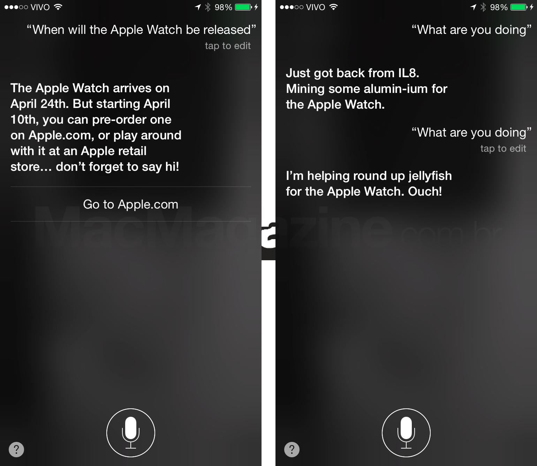 Siri divulgando o Apple Watch