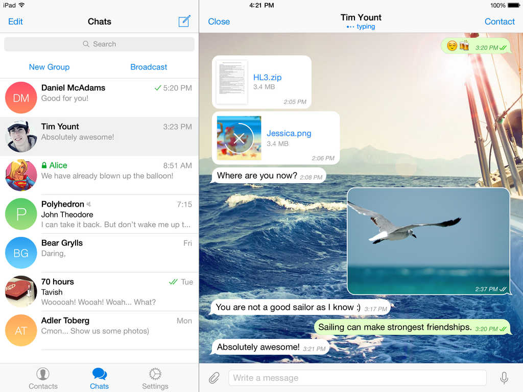 Screenshot do Telegram para iPad