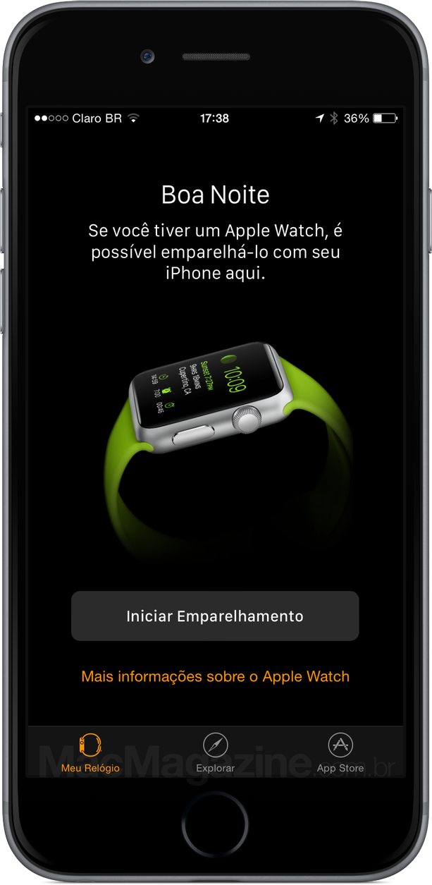 Aplicativo Apple Watch do iOS
