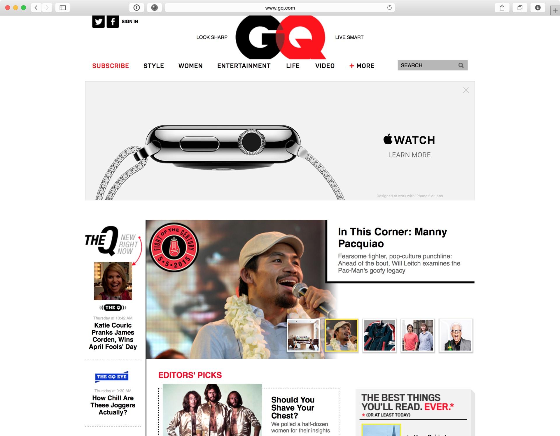 Propaganda do Apple Watch no QG.com