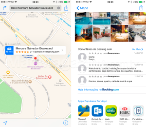 Mapas da Apple com Booking.com