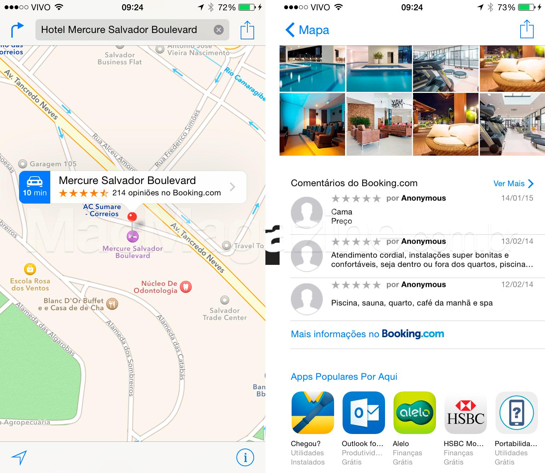 Mapas da Apple com Booking.com