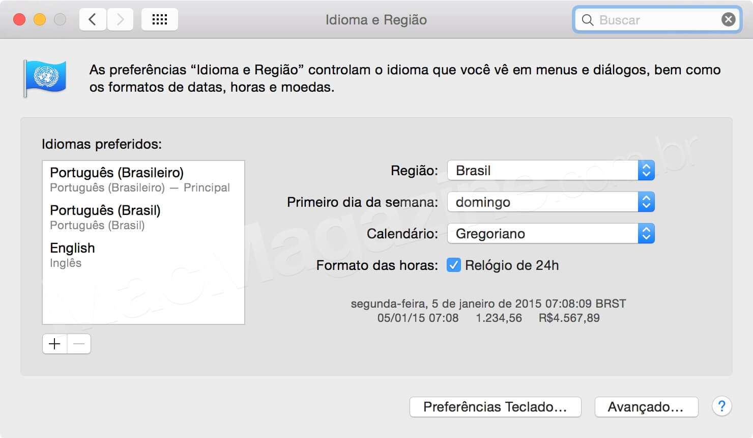 Preferências do Sistema em português