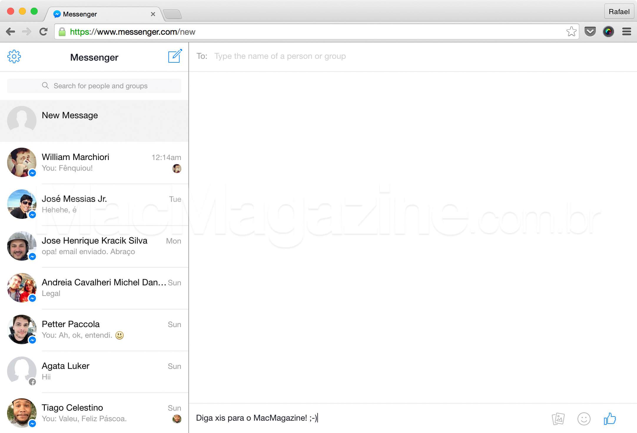Messenger.com na web