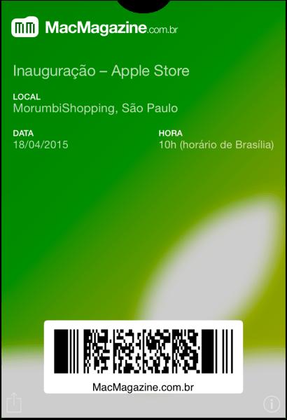 Passbook para a inauguração da Apple Store - Morumbi