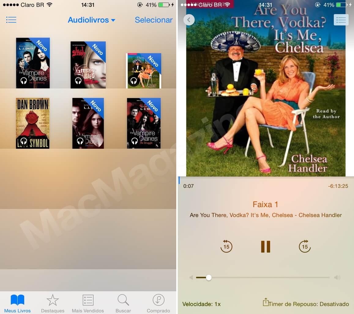 Audiolivros no iOS 8.4