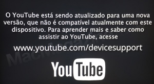 Mensagem do app YouTube na Apple TV