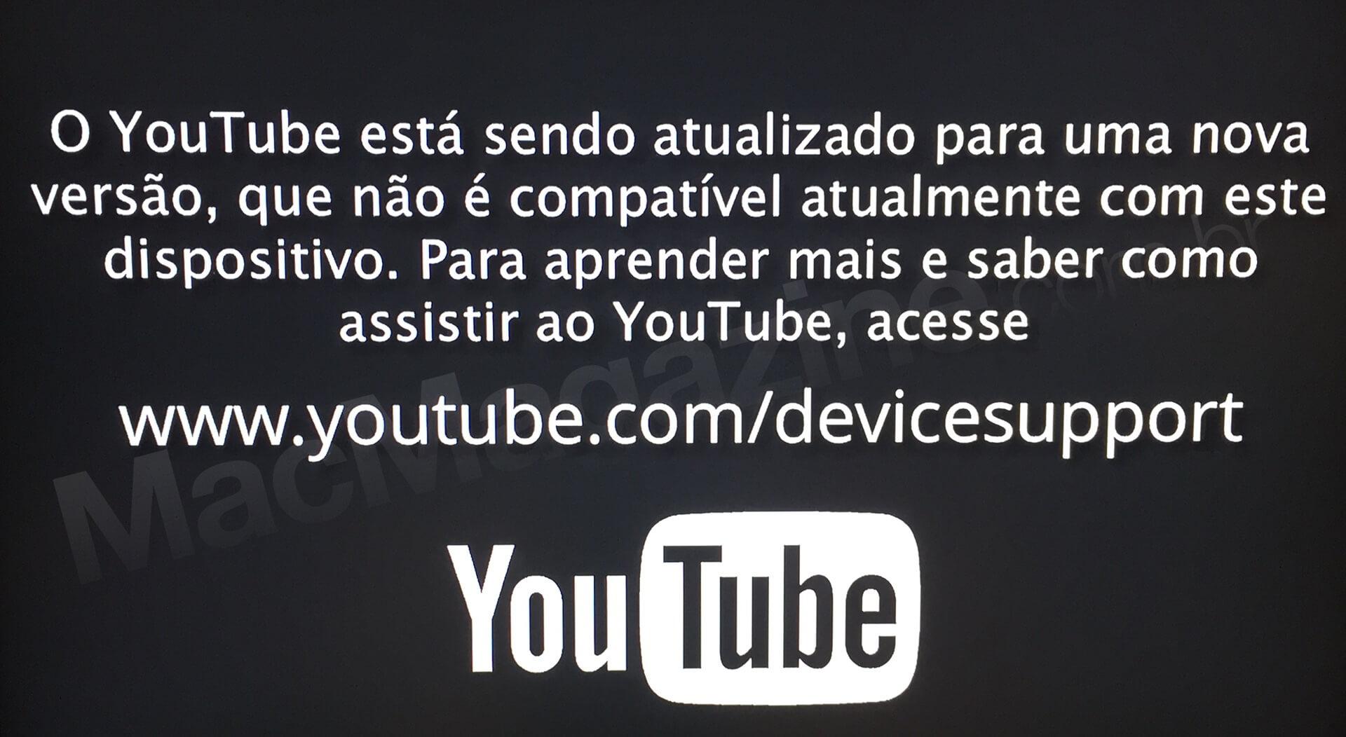 Mensagem do app YouTube  na Apple TV