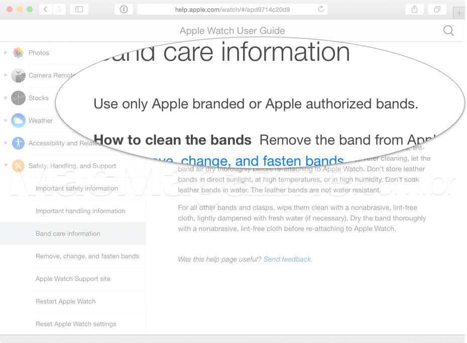Pulseiras autorizadas para o Apple Watch