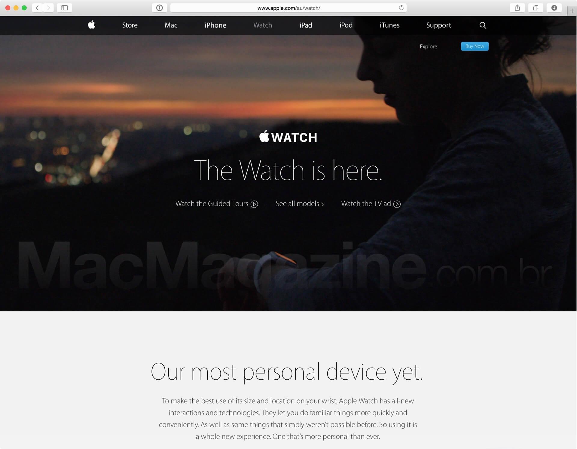 Página australiana do Apple Watch
