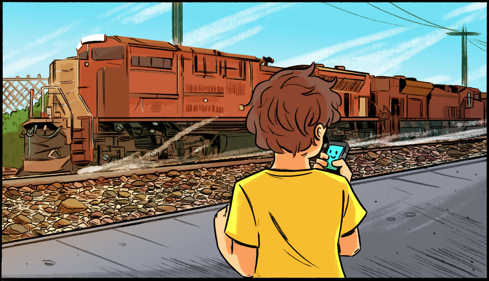 Ilustração de criança com autismo falando com a Siri