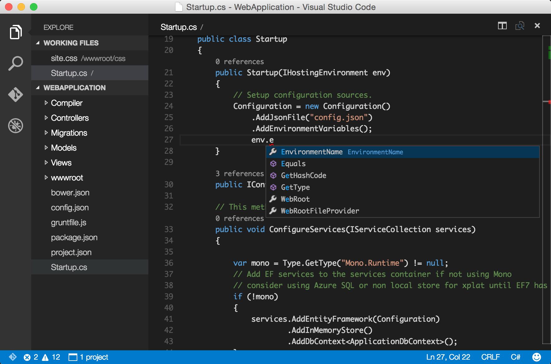 Visual Studio Code para OS X
