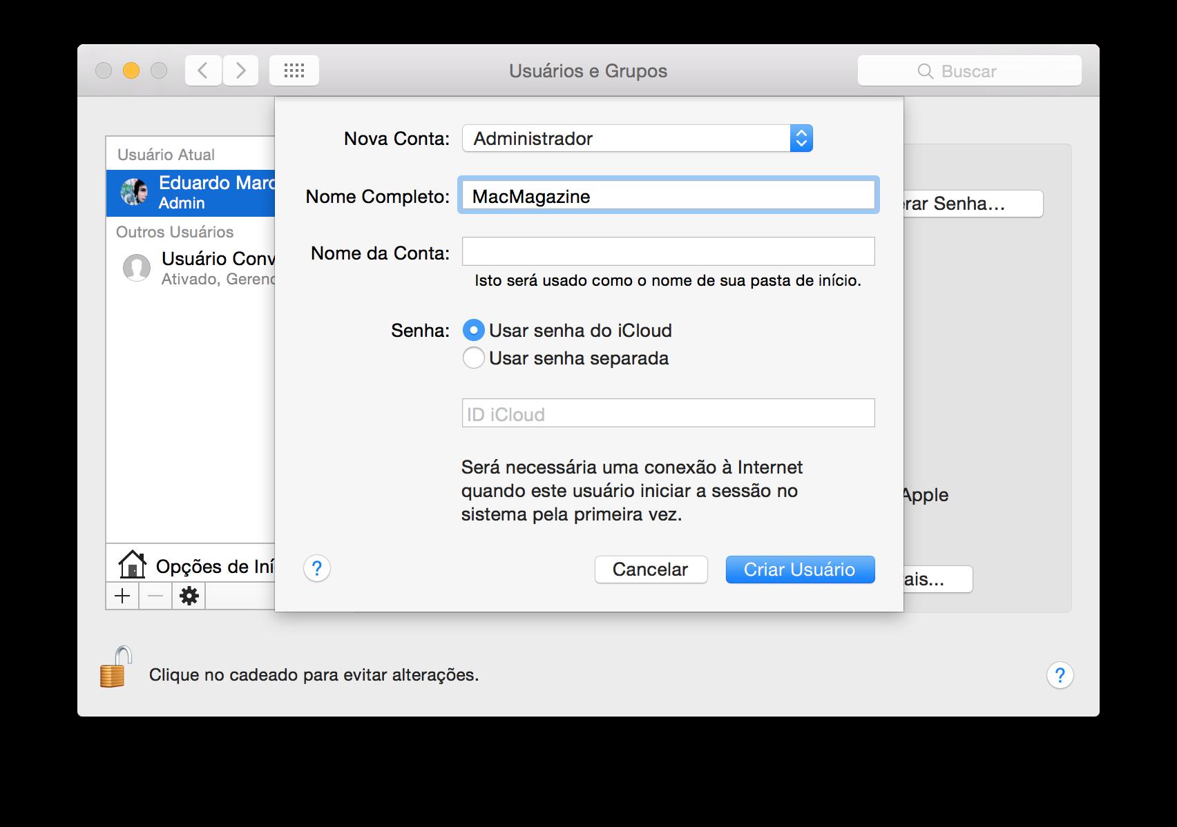 Criando uma conta de administrador no OS X
