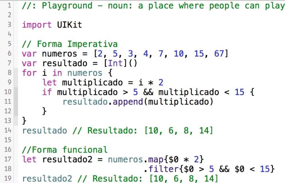 Programação funcional da Swift