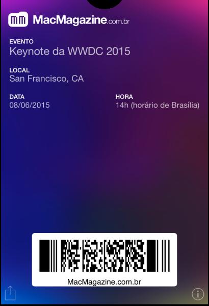Tíquete de Passbook da WWDC 2015