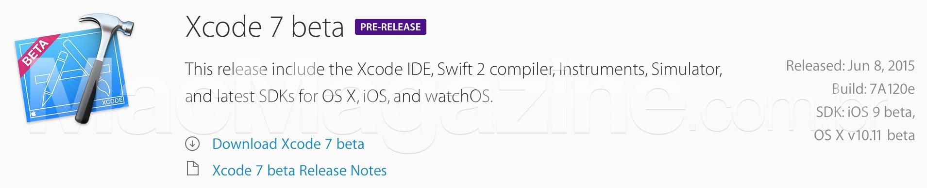 Primeira beta do Xcode 7