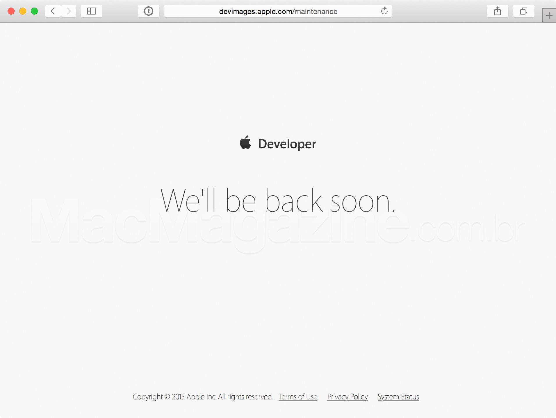 Apple Dev Center fora do ar