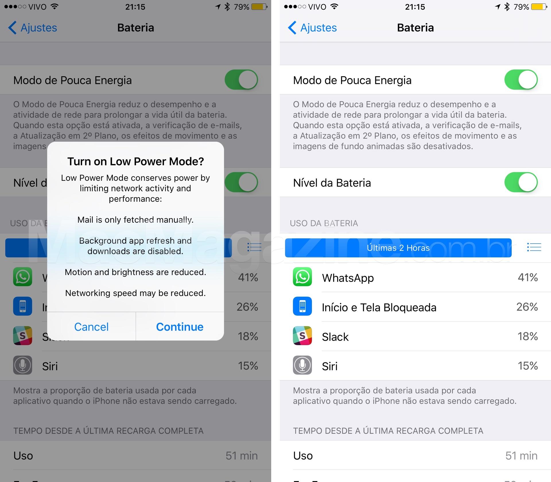 """Modo Pouca Energia"" do iOS 9"