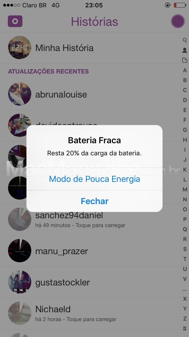 Alerta de bateria do iOS 9