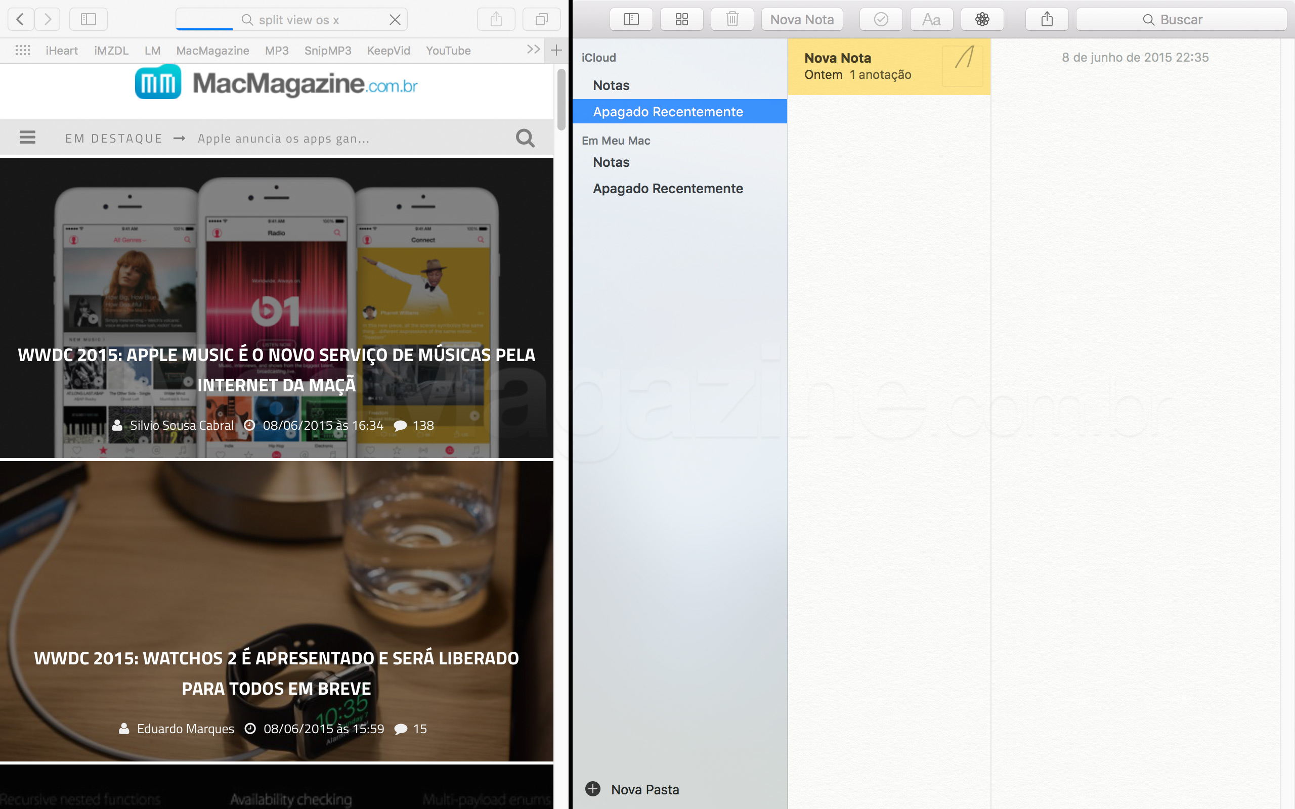 Screenshot do OS X El Capitan 10.11