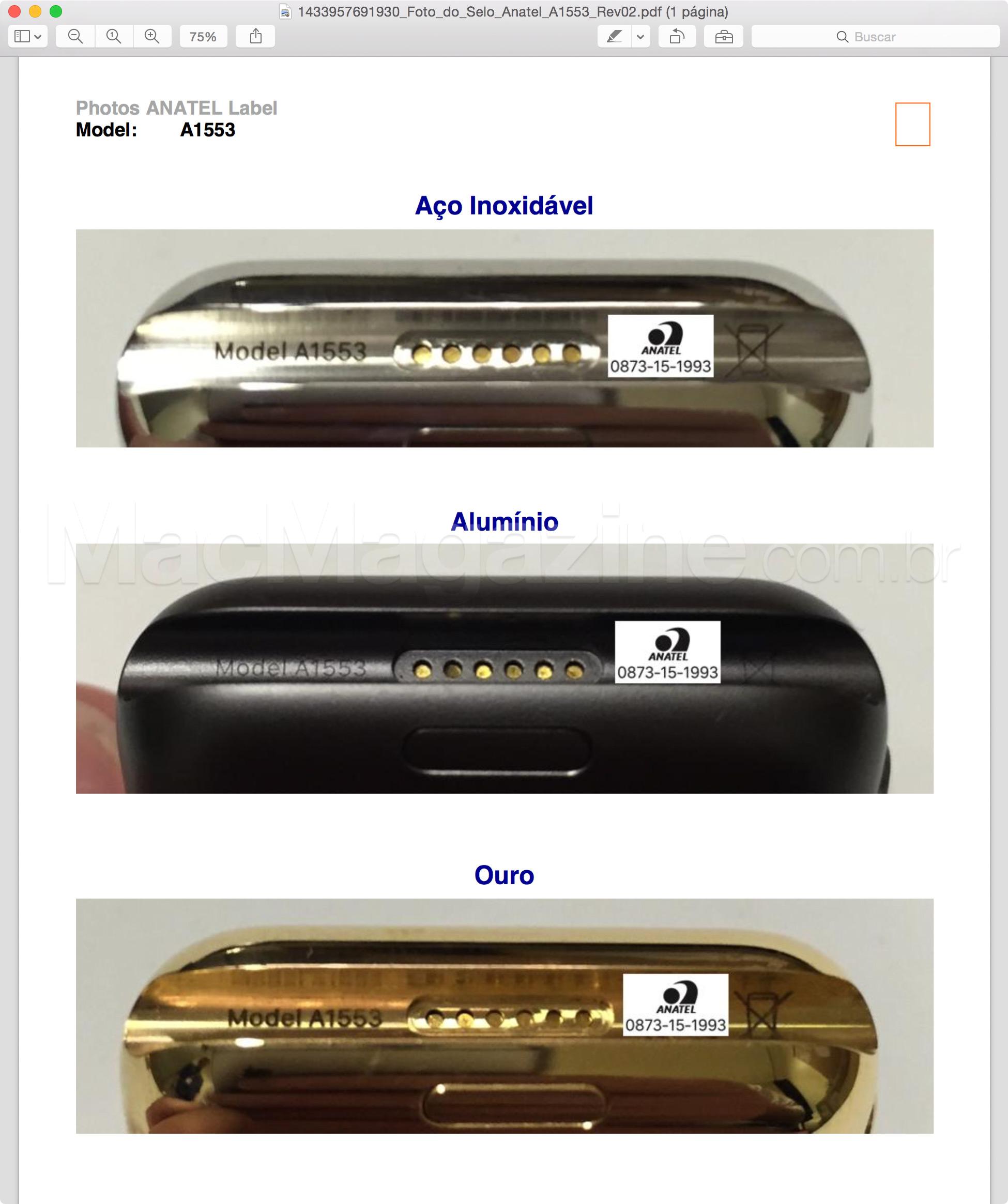 Homologação do Apple Watch pela Anatel