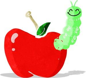 Bicho em uma maçã