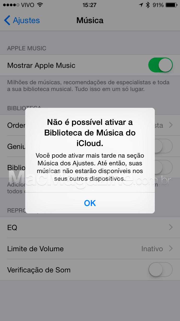 Biblioteca de Música do iCloud