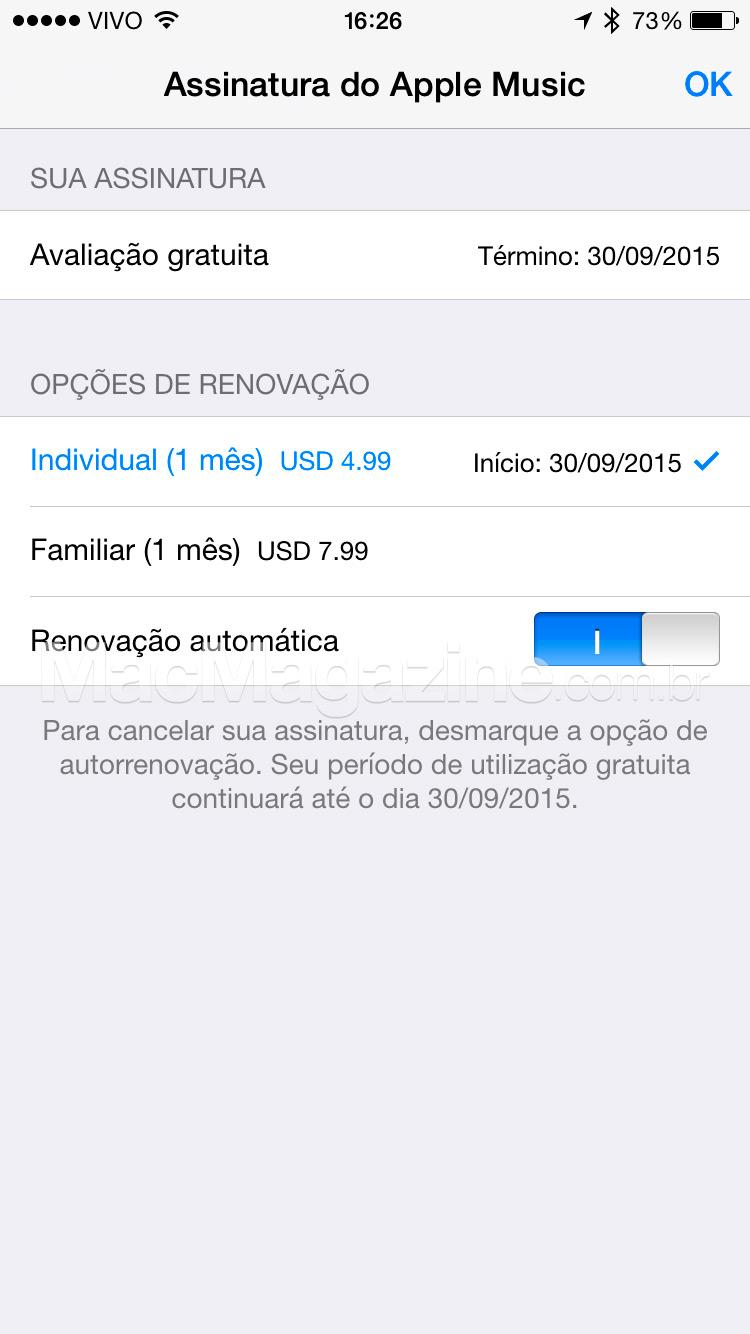 Renovação do Apple Music pelo iPhone