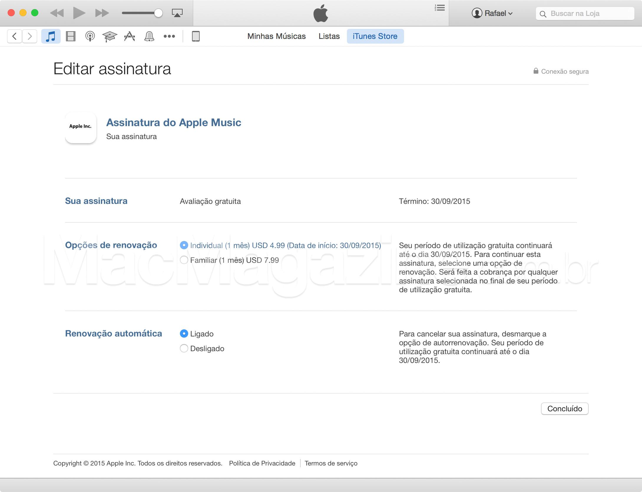 Renovação do Apple Music pelo iTunes no Mac