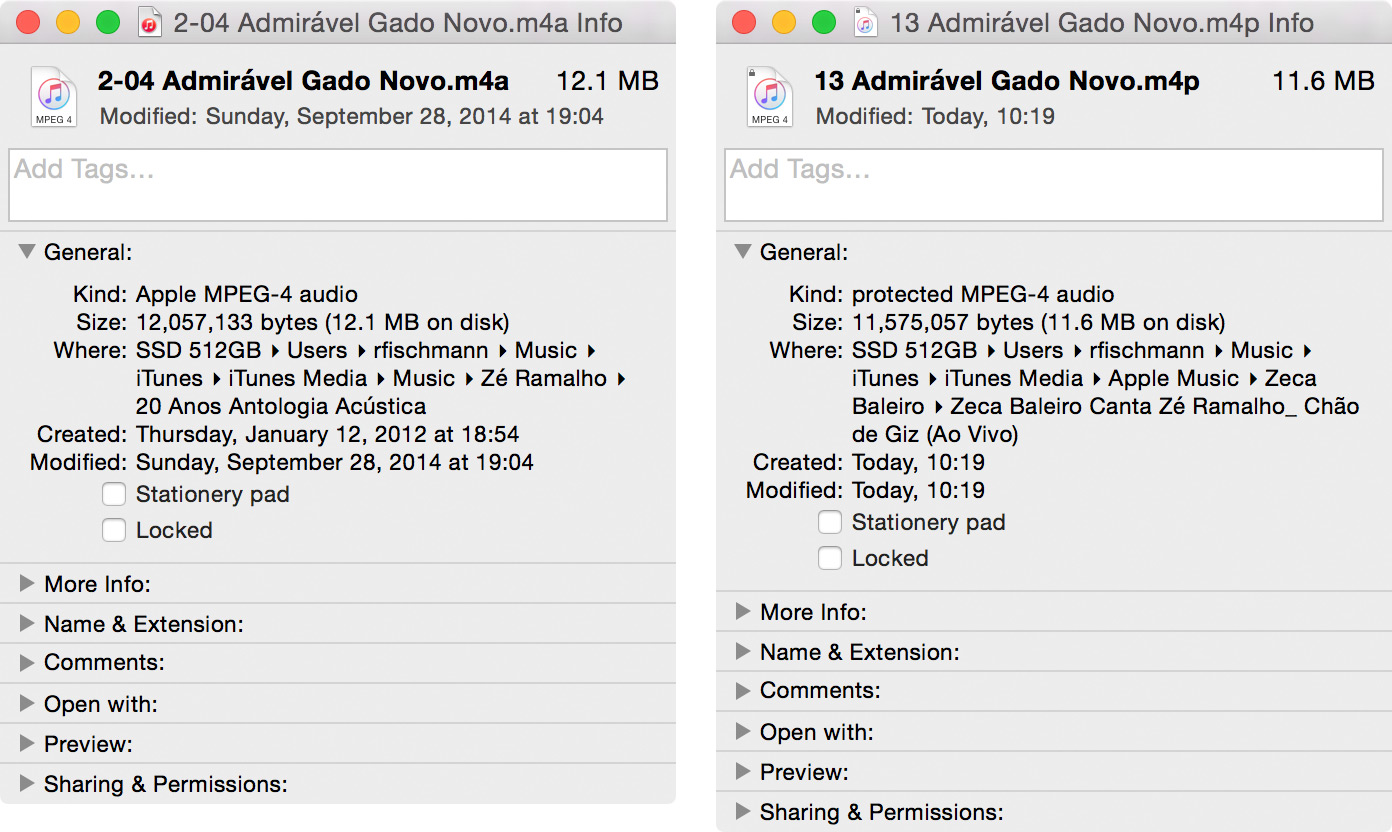 Comparativo de arquivos da iTunes Store e do Apple Music