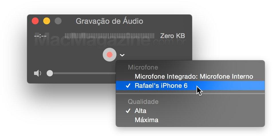 Gravando áudio do iPhone