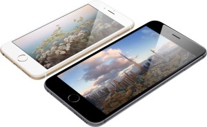 iPhones 6 e 6 Plus deitados