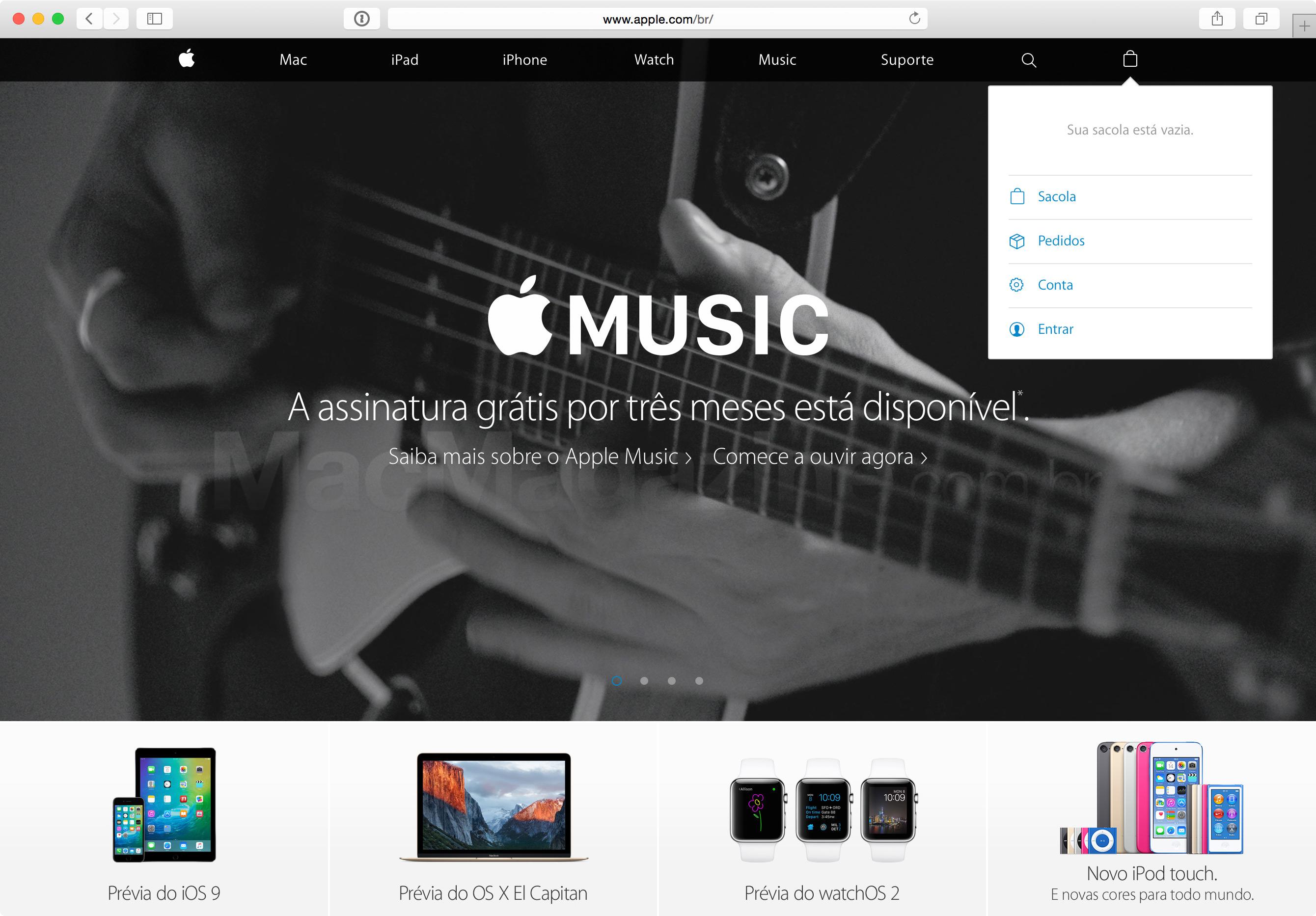 Site da Apple integrado à loja