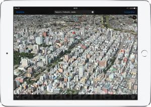 Flyover em Sapporo, no Japão, num iPad