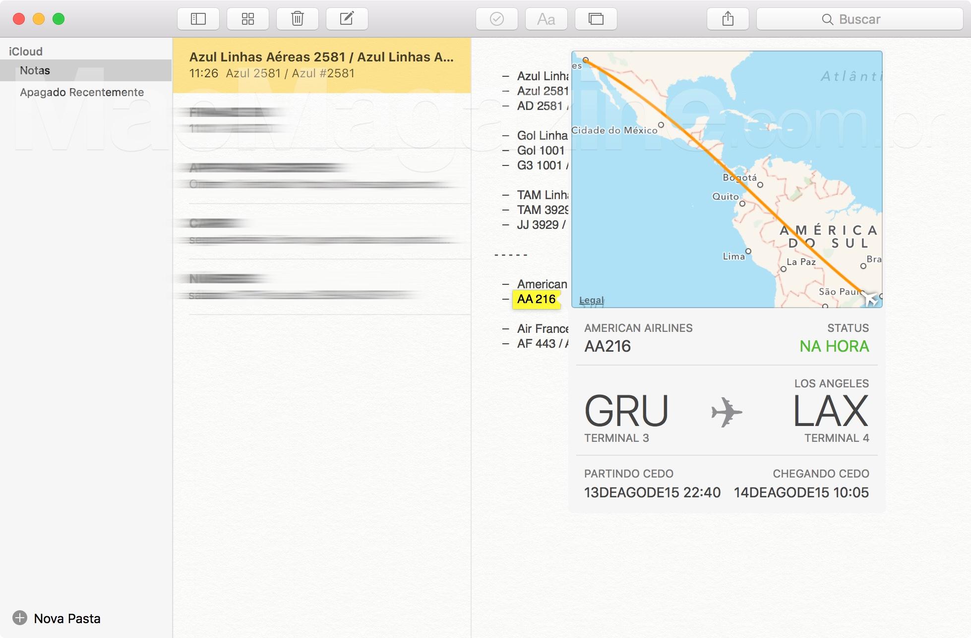 Informações de voos no OS X El Capitan 10.11
