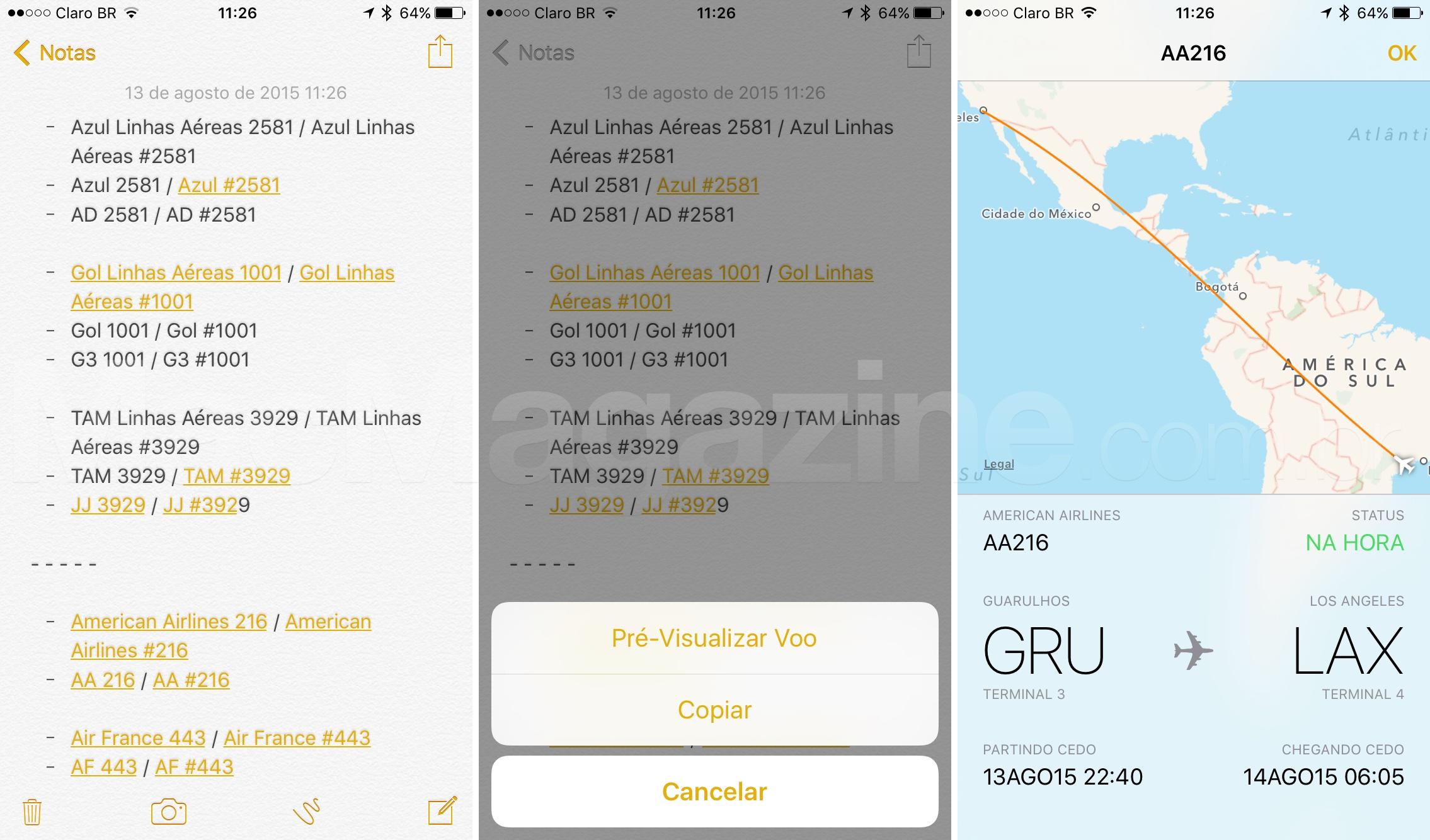 Informações de voos no iOS 9