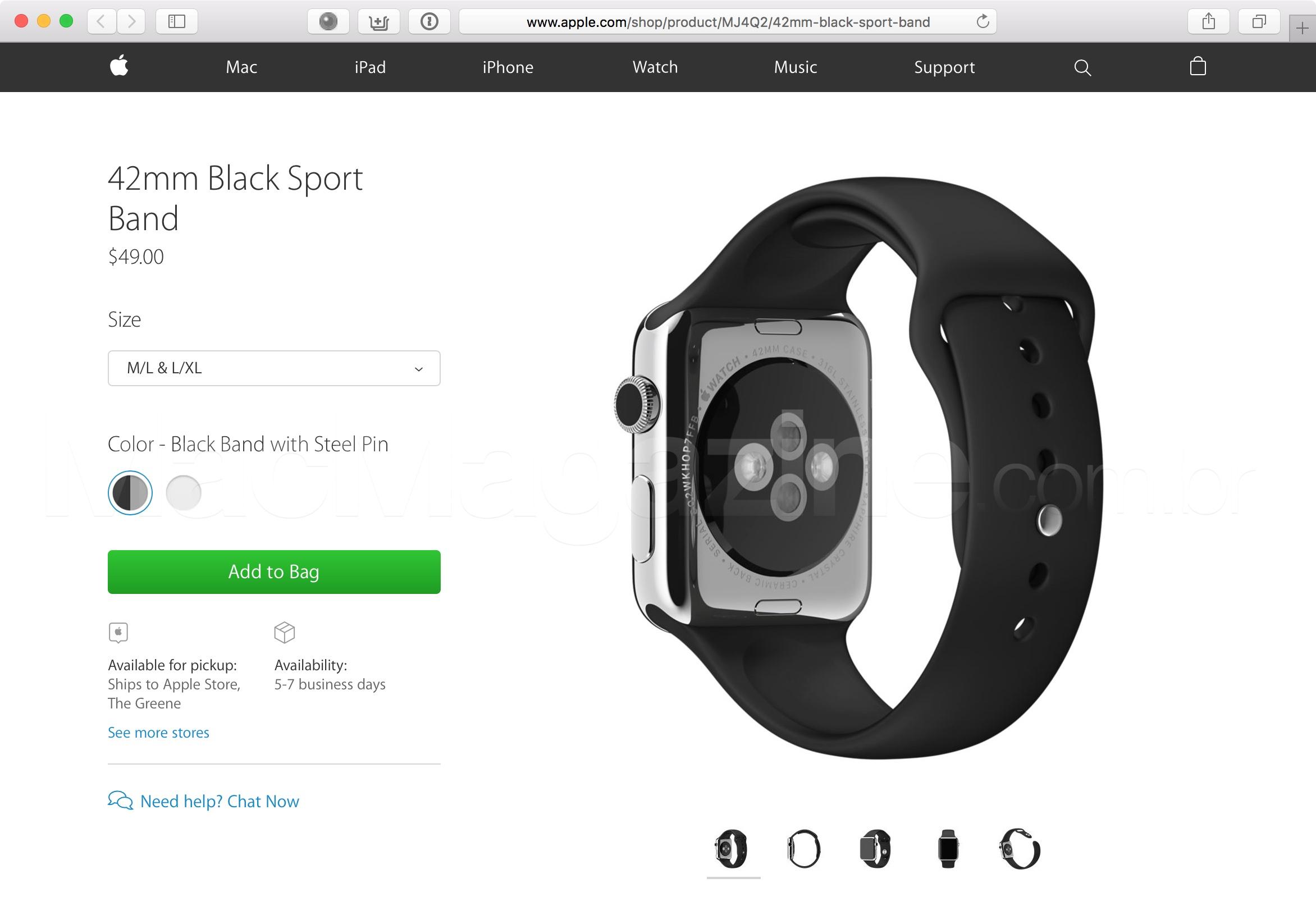 Pulseira esportiva do Apple Watch