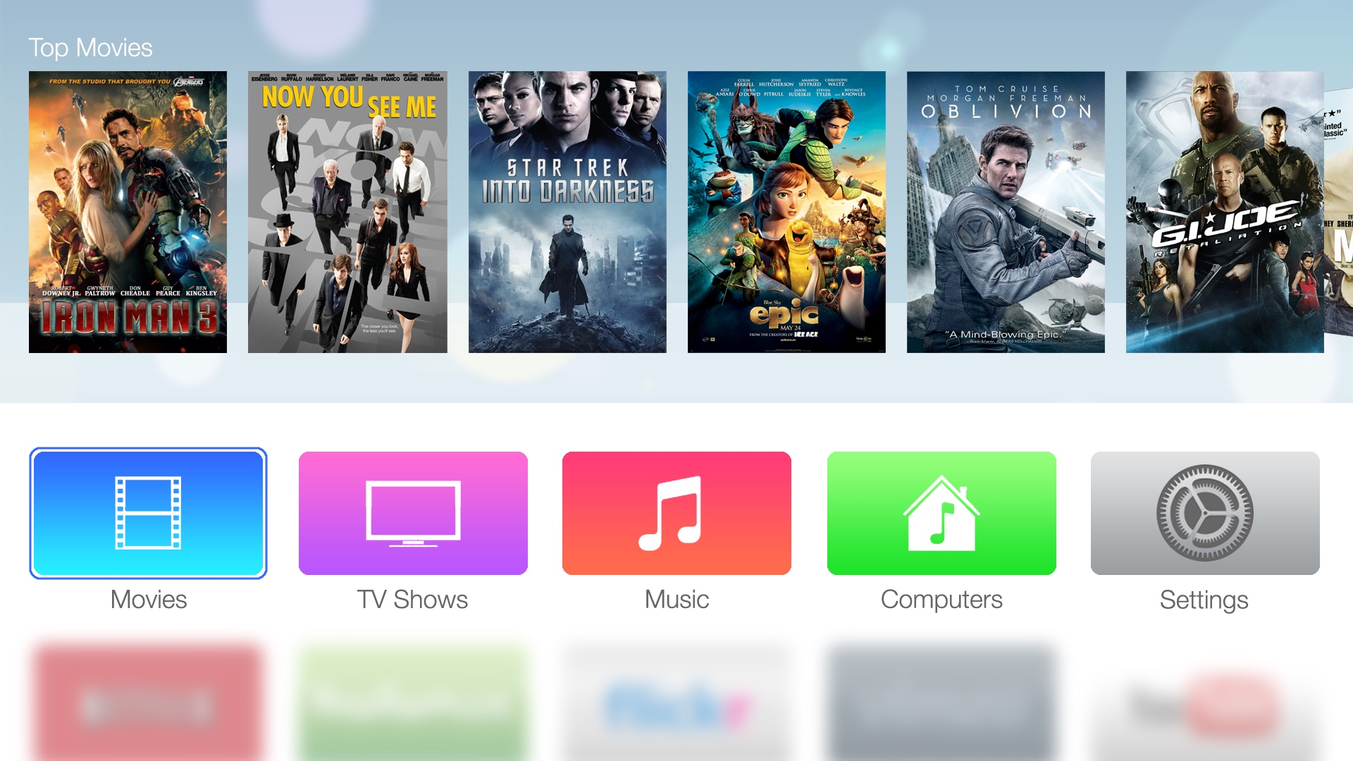 Suposta interface da Apple TV